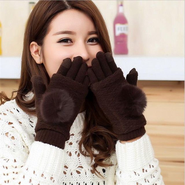 YGYEEG 2018 Women Winter Touched Screen Gloves Warm Double layer Separable Knitted Fingerless Gloves Female Rabbit Fur Mittens