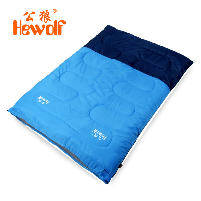Hewolf Brand outdoor double sleeping bag adult spring and summer indoor lunch break warm cotton sleeping bag couple camping hewolf sleeping bag outdoor cotton lunch break room camping adult spring autumn envelope thickening 2 persons