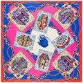 Tamaño grande 130 cm * 130 cm Pañuelo Nuevo de La Venta Caliente Cartas de Póquer Diseño Cadena de Oro Bufanda Del Invierno Mujeres Ropa accesorios SH1510227