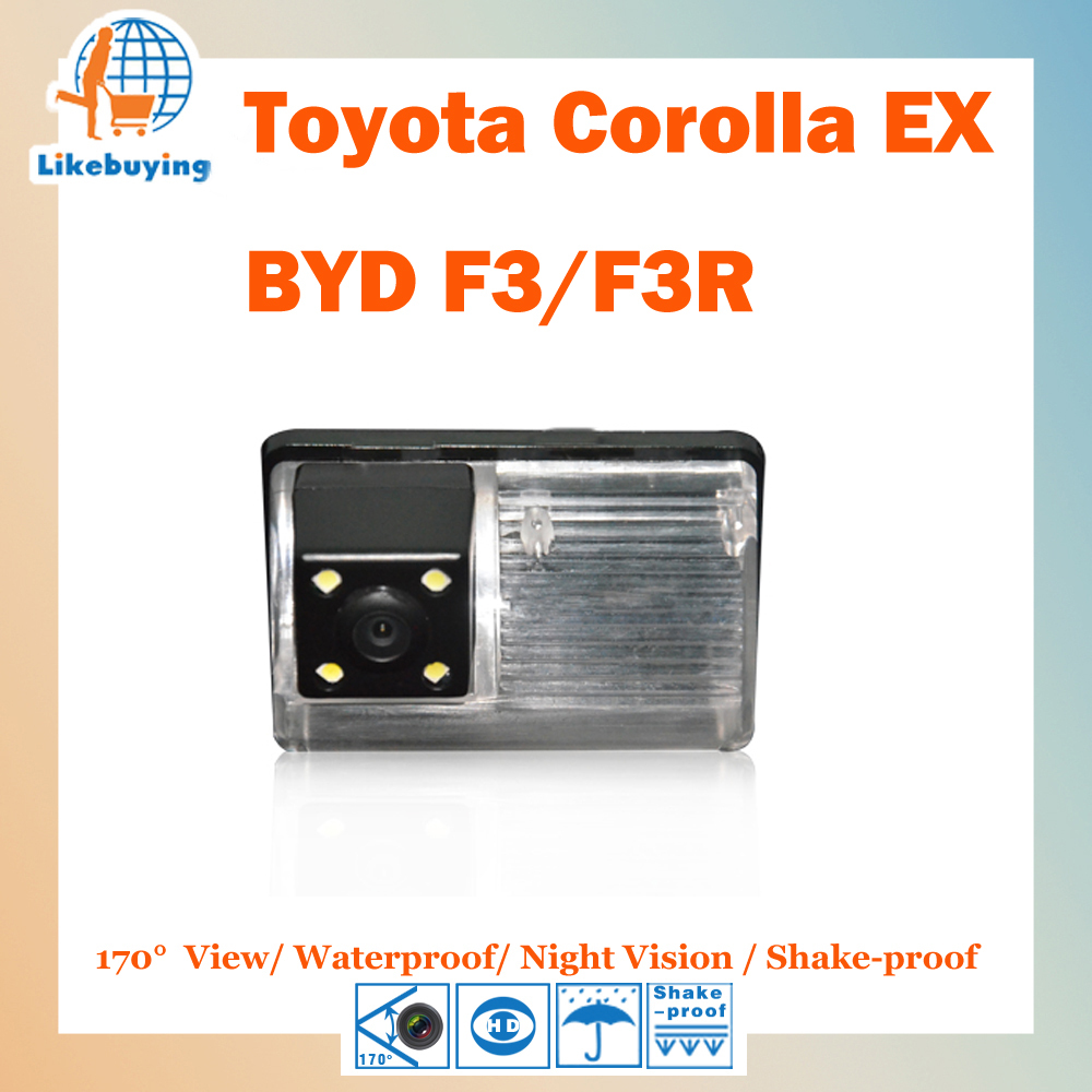 1/4 Color CCD HD Rear View Camera / Reverse Camera For Toyota Corolla EX / BYD F3 / F3R Night Vision / Waterproof / LED Lights