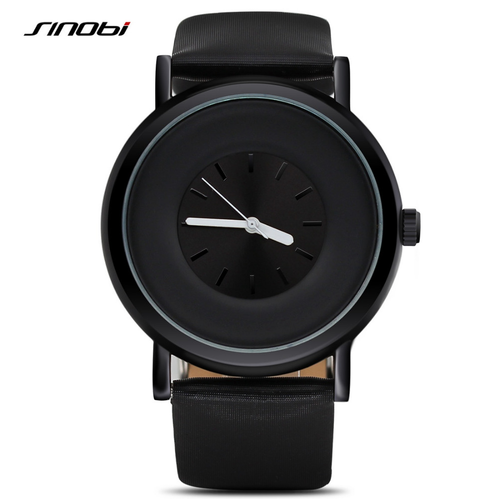 SINOBI Simple Fashion Men's casual Watch Black Leather Top Luxury Brand Sports wristwatch Male Geneva Quartz Clock hours relogio new listing men watch luxury brand watches quartz clock fashion leather belts watch cheap sports wristwatch relogio male gift