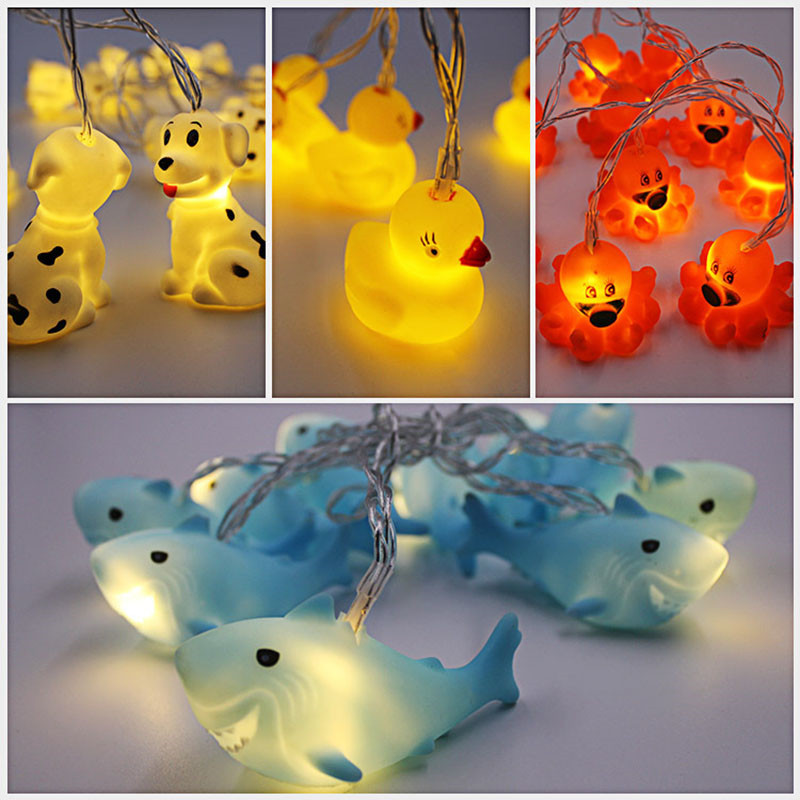 10Leds Lovely Animal led string light battery operated indoor outdoor decoration lamp Warm White Creative Children Gift toy
