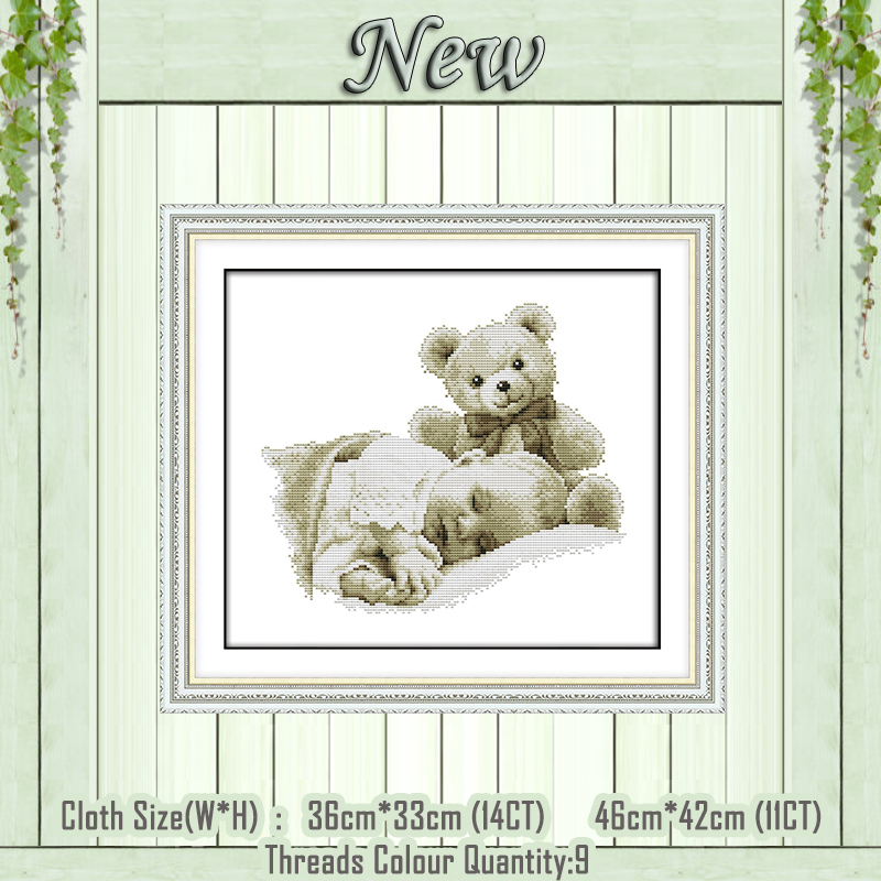 Sleeping Boy And Doll Baby Decor Diy Painting Counted Print On Canvas DMC 14CT 11CT Cross Stitch Needlework Kits Embroidery Sets