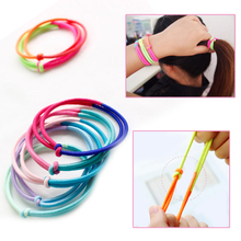 1PC wild rubber band girls hair ring temperament ladies Korean fluorescent two-color fashion ponytail accessories