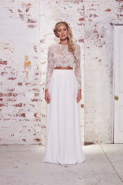 lace long sleeve two piece bohemian country wedding dresses 2017