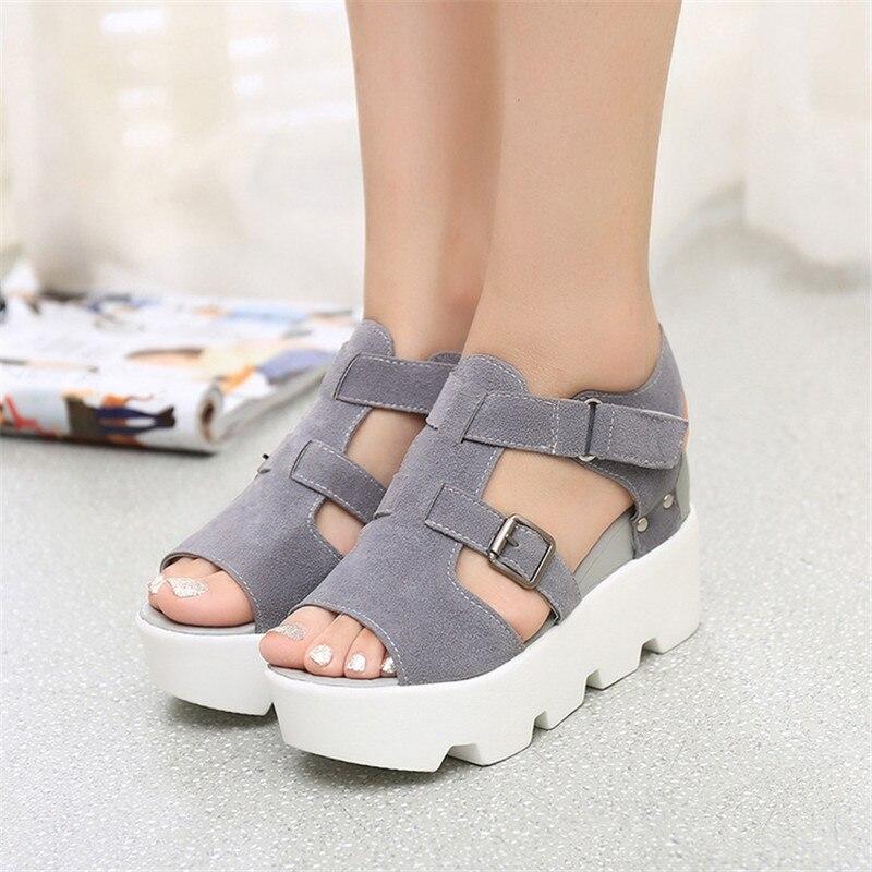 Avec De Femmes 3 2 Augmenté Printemps 1 Coréenne Et 4 À Fond Pente Sandales Des Tête Épais 2018 D'été Version 5 Poisson La Chaussures A BxnwpEOq4T