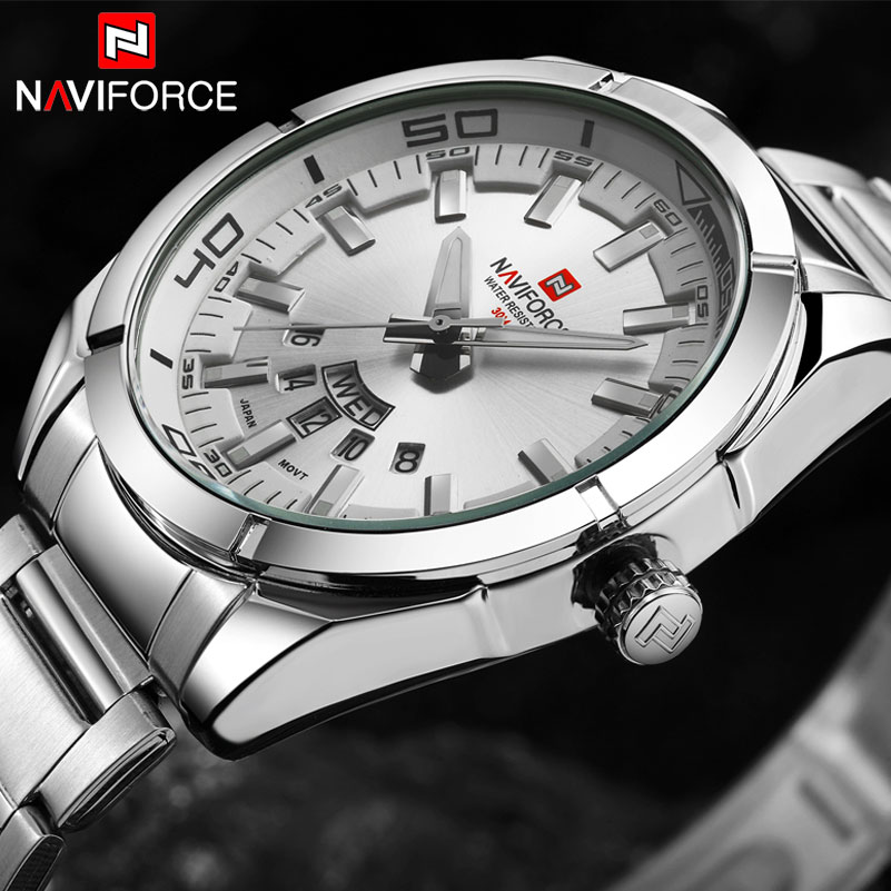 NAVIFORCE Brand Men's Watch Luxury Sport Quartz 30M Waterproof Watches Men Stainless Steel Band Auto Date Wristwatches Relojes стоимость