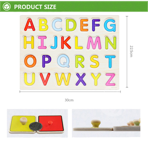 Image 5 - 30cm Kid Early educational toys baby hand grasp wooden puzzle toy alphabet and digit learning education child wood jigsaw toy