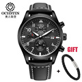 Leather Sport Watch Chronograph Quartz-Watch Military Army Luxury Watch Men 2016 Male Clock Relogio Masculino Black Sport Watch