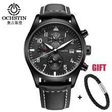 En cuir Sport Montre Chronographe À Quartz-Montre Militaire de L'armée Montre De Luxe Hommes 2016 Homme Horloge Relogio Masculino Noir Sport Montre