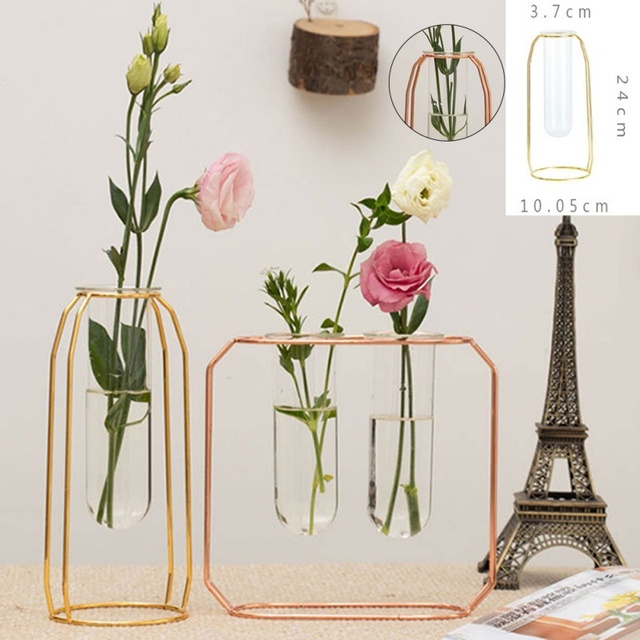 Affordable Lluxury 1Set Nordic Style Glass Iron Art Vase Rose Gold Ceometric Shape Flowerpot Home Wedding Decoration Accessories 2