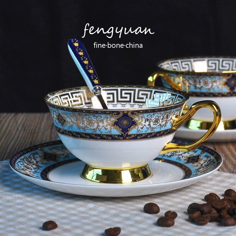 Doré côté os chine tasse à café d'Angleterre mode à la main britannique après-midi thé tasses ensemble en céramique fleur thé tasse + plat