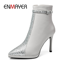 ENMAYER Ankle boots women mixed colors pointed toe zipper ankle botas mujer thin heel Size 34-39 ZYL1035