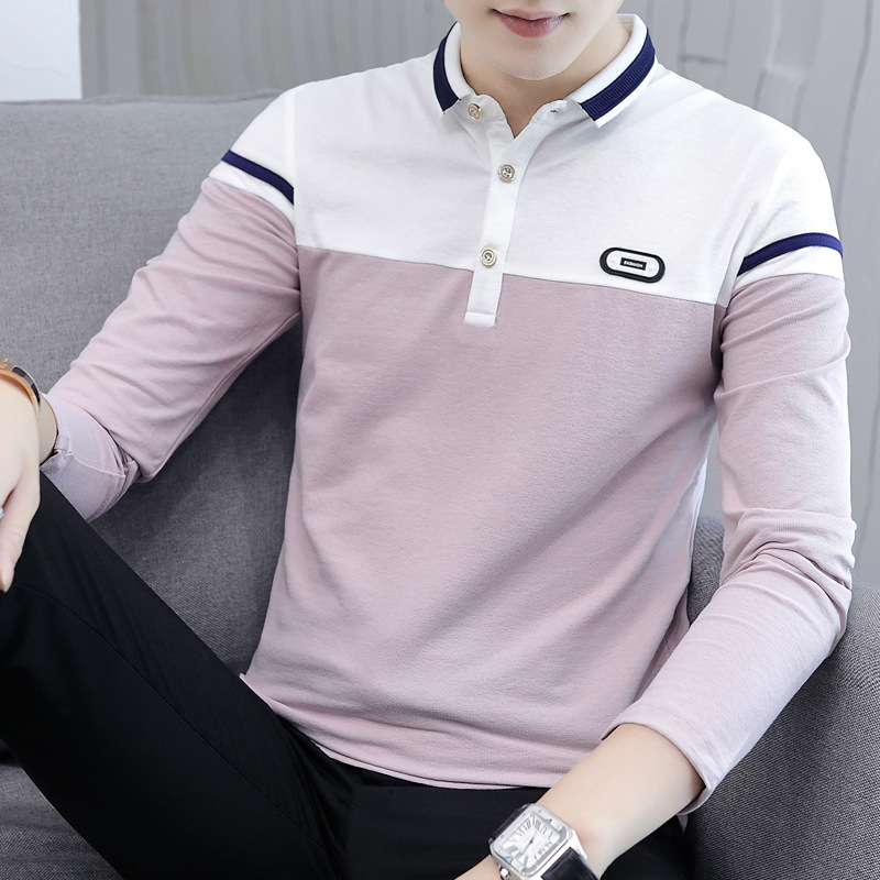 2018 men   polo   shirt new long sleeves lapel cultivate color matching turtleneck collar new   polo   shirt male