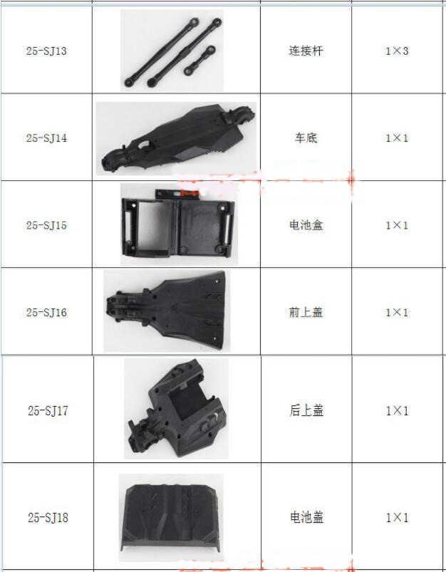 JYRC 9125 1/10 części zamienne do samochodów rc kompletne części 25-SJ01 ~ 25-SJ18 25-ZJ01 ~ ZJ09 shell ramię wahadłowe wał napędowy rama amortyzatora itp