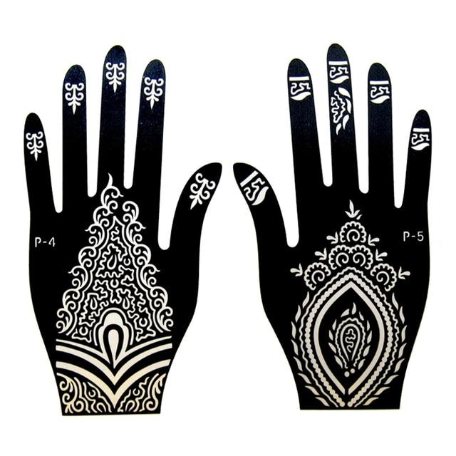 1pair 2pcs Left Right Hand Mehndi Henna Tattoo Stencils Henna