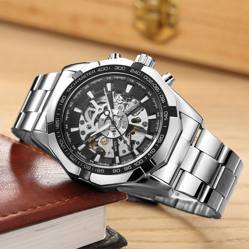 10pcs/lot Fashion Design watch Black mechanical Watch black stainless steel band Steel Automatic watch