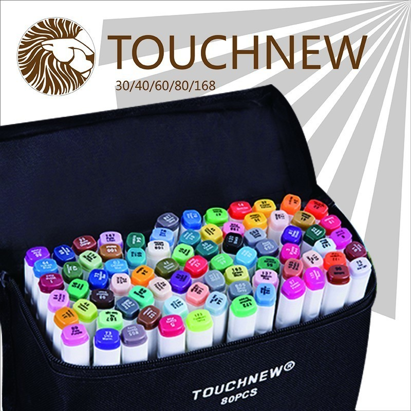 TOUCHNEW Sketch Color Marker Pen Dual Head Alcohol Based Art Markers 30 40 60 80 168 Colors set Manga Marker For Design Drawing