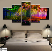 Home Decor Modular Canvas Picture 5 Piece Colourful Forest Scenery Painting Art Poster Wall For Home Canvas Painting Wholesale canvas painting poster colourful leaf trees 4 piece painting wall art modular pictures for home decor wall art picture painting