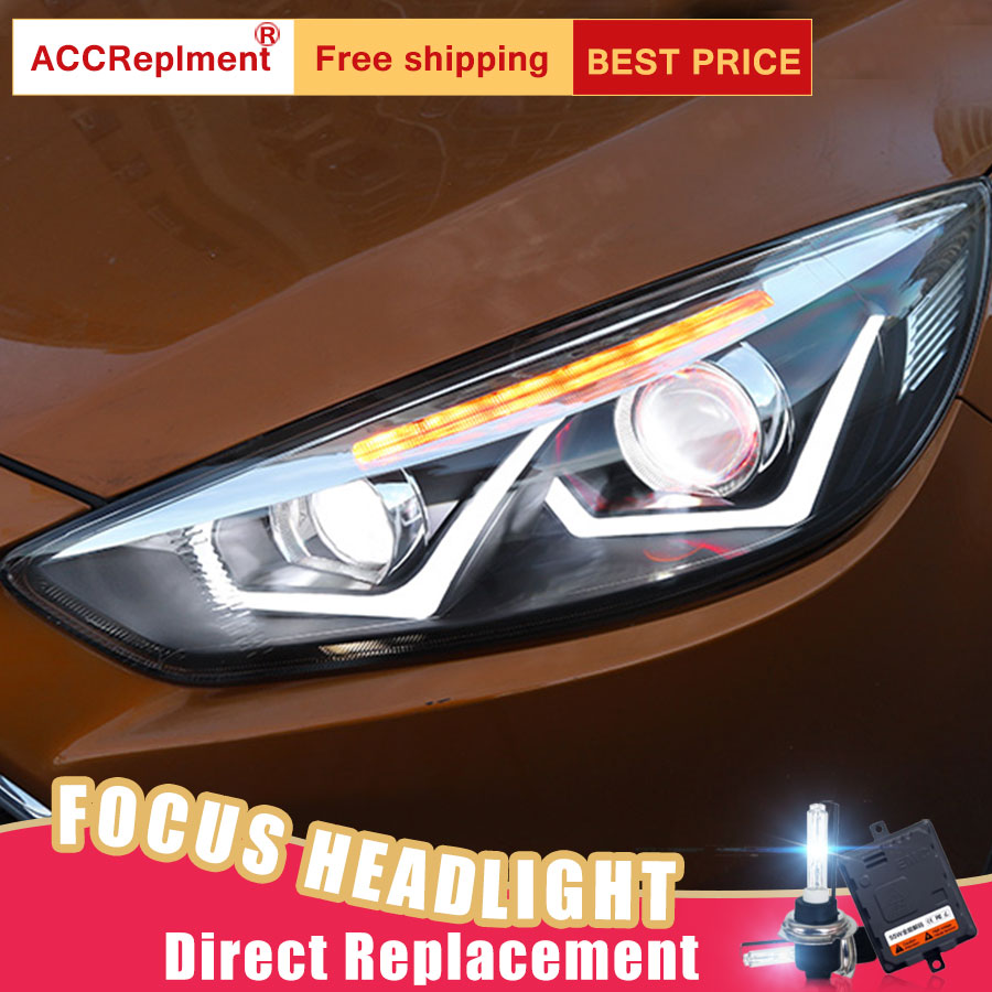 2Pcs LED Headlights For Ford FOCUS 2015 2017 led car lights Angel eyes xenon HID KIT