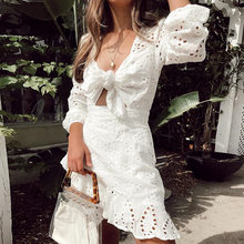 Vintage White Embroidery Short Dress Women 2019 New Casual Holiday Hollow out V Neck Lace up Female Dress Vestidos(China)