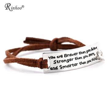 Rinhoo You are Braver Than you Believe Stronger than you seem Inspirational Leather Bracelet Fashion Jewelry Men Bracelets image