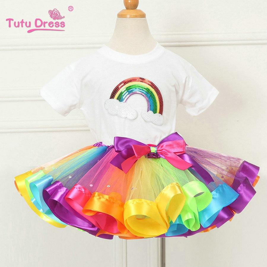 03ea49bbe88b Καλοκαιρινά Κορίτσια Ρούχα Σέτ Rainbow Casual Βαμβάκι Κοντά Μανίκι T ...
