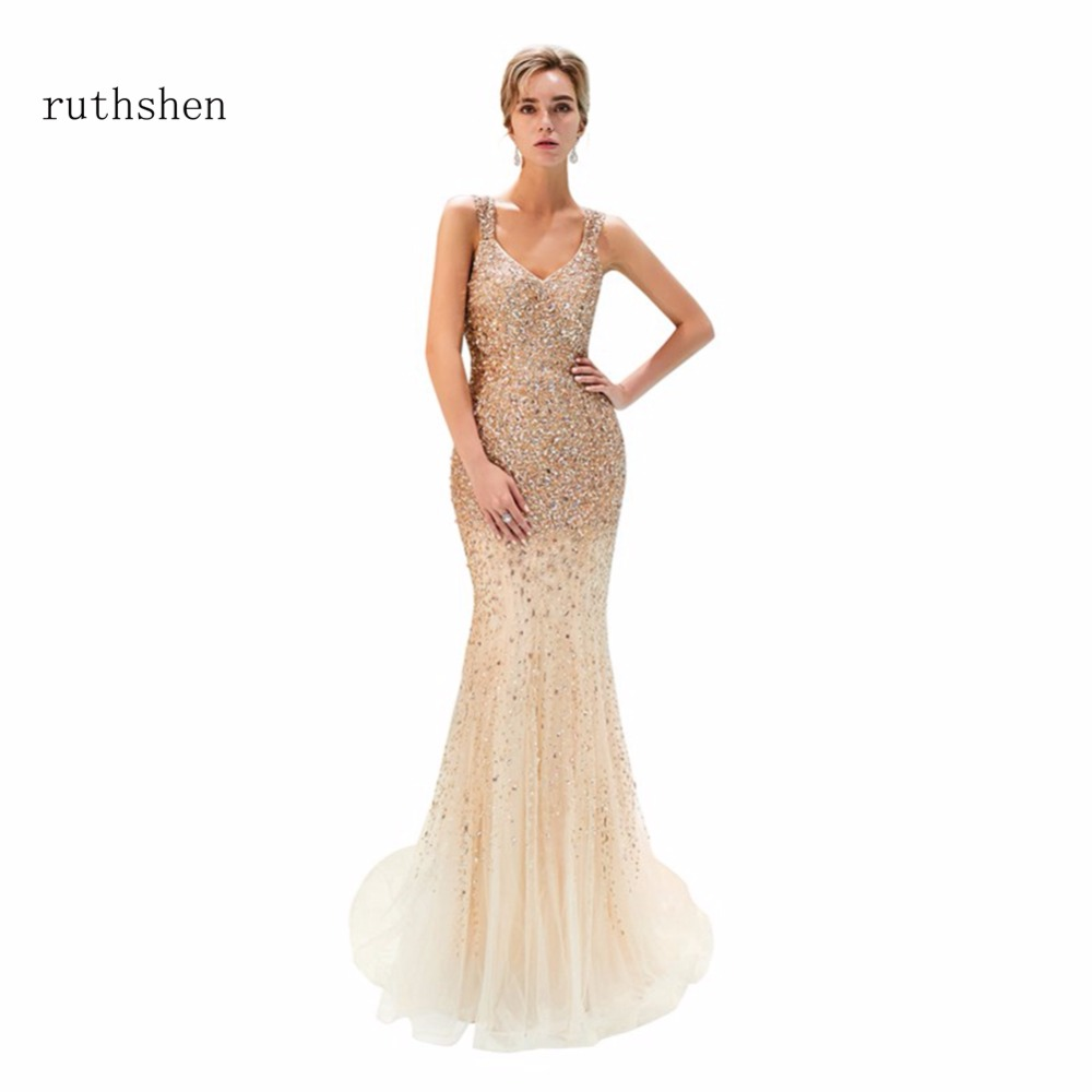ruthshen 2018 Sexy V Neck Long   Evening     Dresses   Beads Mermaid Sleeveless Party Gowns For Women Formal Vestidos Largos De Noche