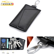 2019 VVVIST Car Key Case Cover Men Women Holder Organizer Pouch Cow Split Bag Wallet Housekeeper Mini Card