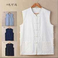 Chinese mandarin Vest Sleeveless garment Chinese traditional tops Cotton Men shirt Shanbei