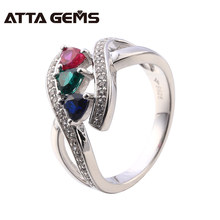 Fine Jewelry For Women Created Ruby Sapphire And Emerald Sterling Silver Ring S925 Wedding And Engagement Ring Jewelry Brand(China)