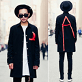 2017 Spring New Fashion Red Rope Personality Male Long-sleeve Shirt Men Strape Design Punk Shirt
