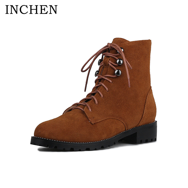 INCHEN Handmade Cow Suede Leather Ankle Boots Lace Up Low Heel Motorcycle Boots Round Toe Woman Boots Autumn Woman Shoes 1650 booties combat lace up flat suede round toe fall military front casual ankle boots autumn work women shoes gray low heel 2017
