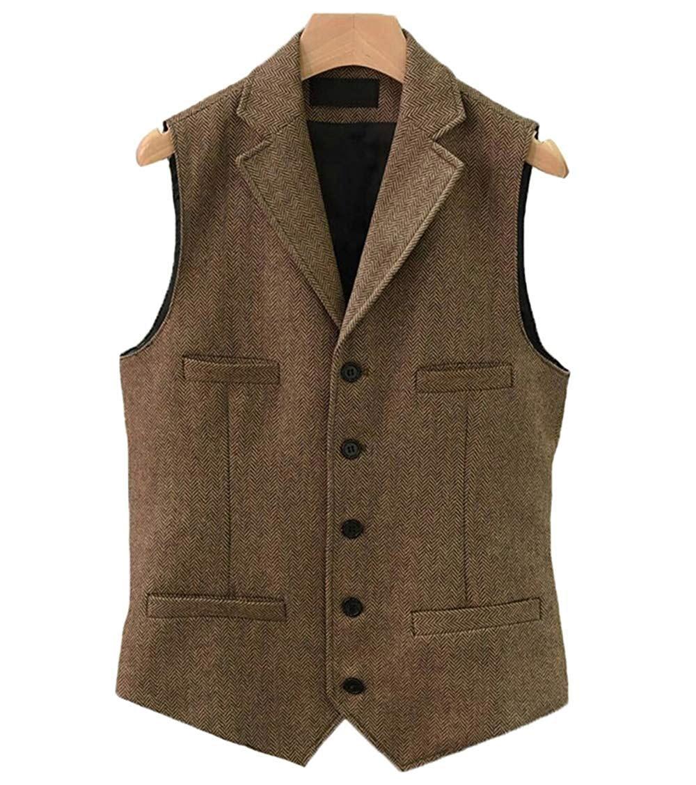 Mens Suit Vest Lapel V Neck Wool Casual Formal Business Herringbone Waistcoat Groomman For Wedding Army Green/Burgundy/Brown