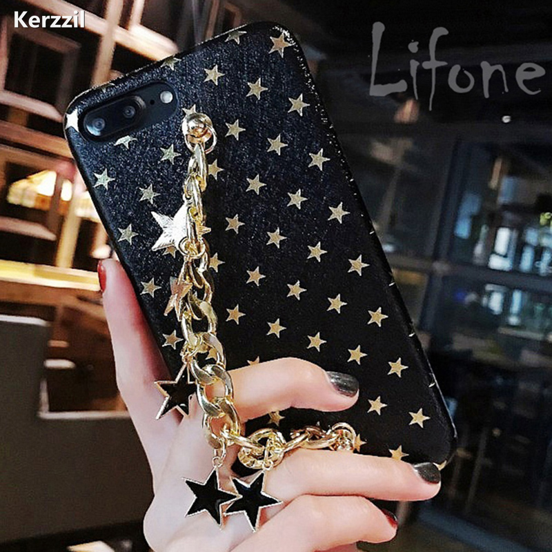 For iPhone 7 Glitter Stars chain Geometric Images Case For iPhone 6 6S Plus PU Leather Soft Cover Case For iPhone 6 7 6S Capa