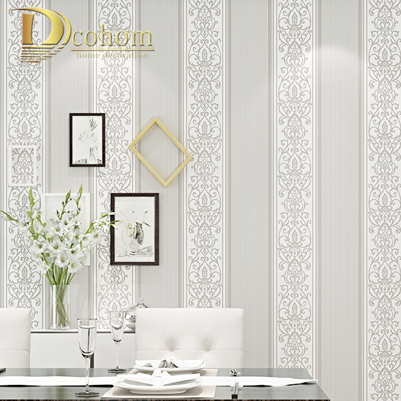 Grey/White/Beige/Pink Shimmer Damask Striped Wallpaper For Bedroom Modern Embossed Texture Wall Paper Roll Home Decor