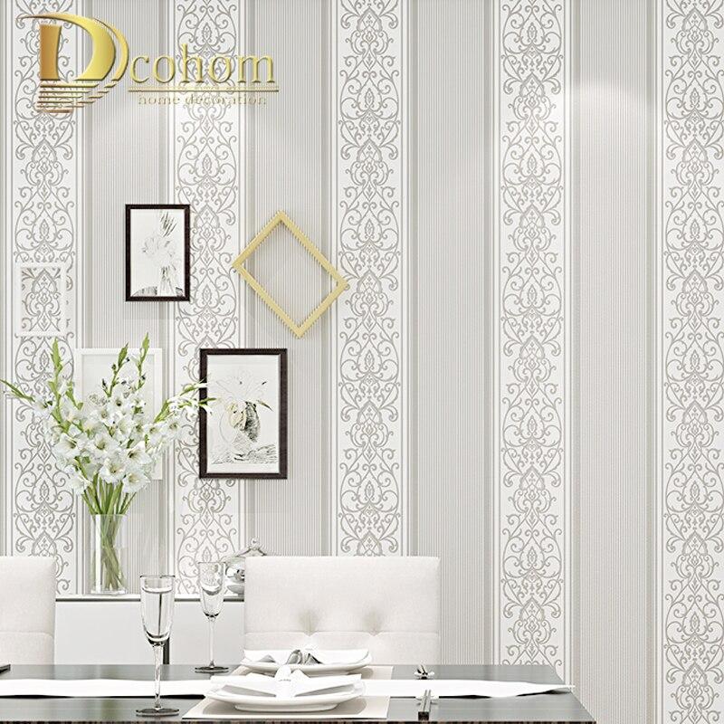€12.86 53% de réduction|Papier peint rayé par damassé gris/blanc/Beige/rose  pour le décor à la maison moderne de petit pain de papier peint de Texture  ...