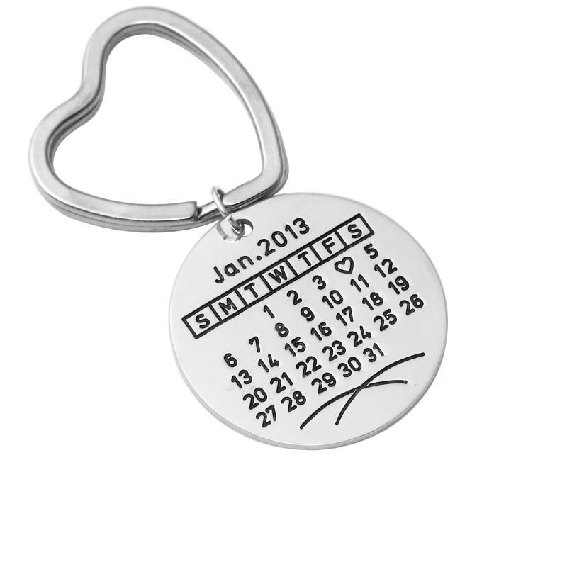 Personalized calendar Keychain, Alloy key ring, Customized Keychain hand stamp special date keyring for husband boyfriend 50 years perpetual calendar keyring keychain silver alloy key ring keyfob decoration 8ou9