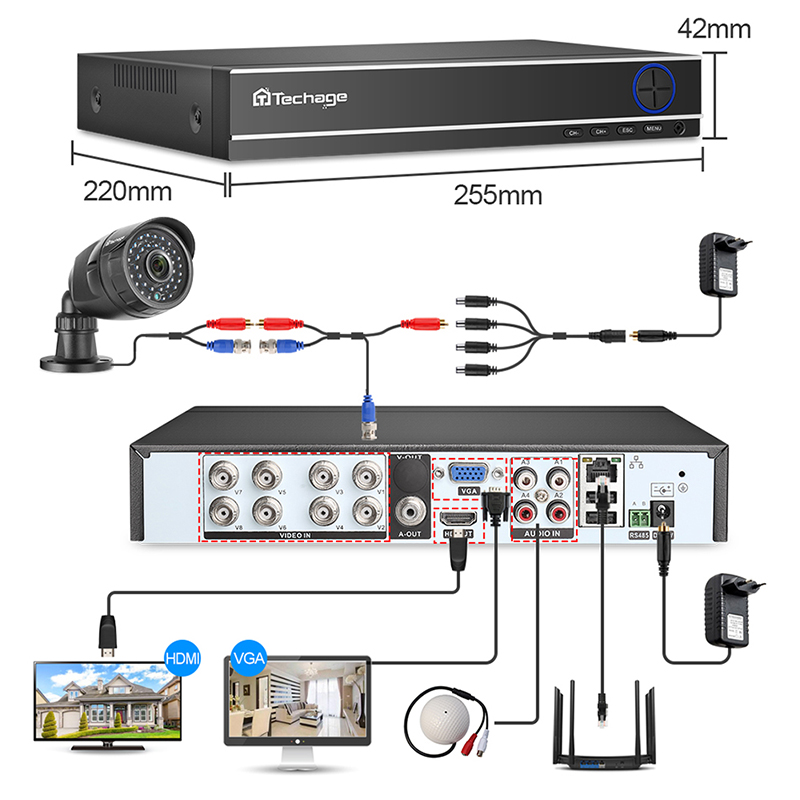 8CH 1080P CCTV Security System AHD DVR Kit 2.0MP IR Night Vision Outdoor Waterproof Camera P2P Video Surveillance Set 2TB HDD