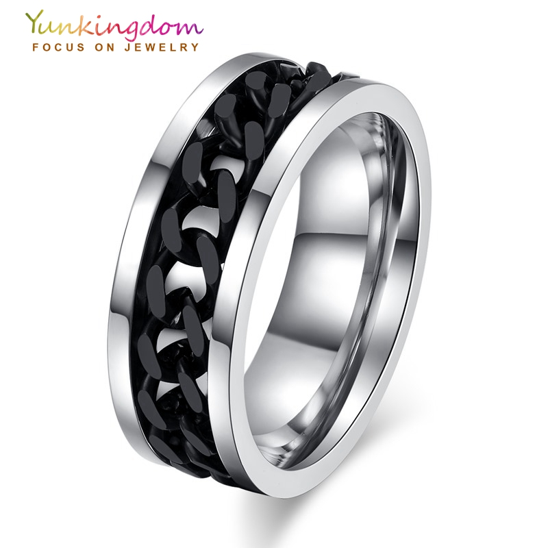 yunkingdom stainless steel rings for men black gun gold color chain design rings size 6