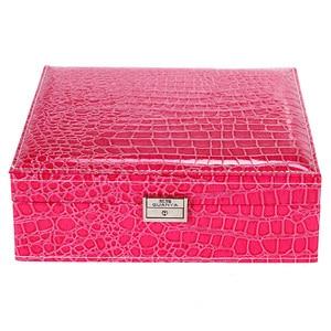 Image 5 - Guanya Brand Leather Storage Boxes Square Shape Wood Jewelry Box Wedding Gift Makeup Storage Bin Earrings Ring Organizer
