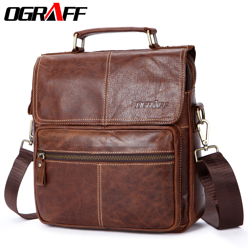 OGRAFF Genuine leather men bag handbags shoulder bag crossbody messenger bag men leather handbags designer handbags high quality ograff genuine leather bag men messenger bags handbag briescase business men shoulder bag high quality 2018 crossbody bag men