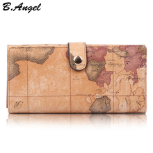 Women World Map Leather Wallets Men Credit Card Passport and Purses Long Design Travel Wallet Coin Purse Clutch