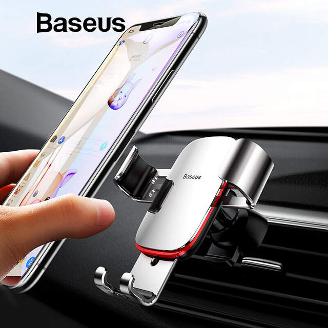 new product d89b4 b3179 Baseus Universal Car Phone Holder For iPhone X XS Max Samsung Huawei Car  Air Vent Mount Holder Metal Gravity Mobile Phone Holder
