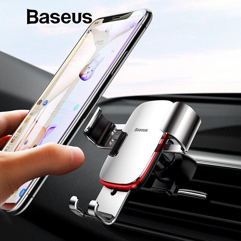 Baseus Universal sostenedor del teléfono del coche para iPhone X XS X Max Samsung Huawei coche soporte de montaje de ventilación de aire de la gravedad móvil soporte de teléfono