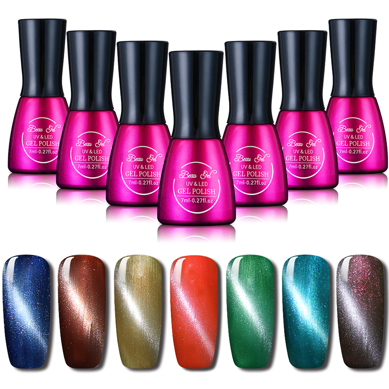 Beau Gel UV Nails Cats Eye Gel Polish Long Lasting UV Semi Permanent Polish Gel Varnish Magnet Cat Eye Gel Polish 7ML/Pcs