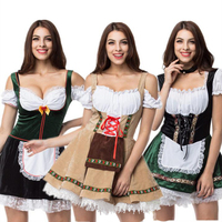 Dirndl Oktoberfest Womens Costume Wench Germany Bavarian Maid Dress Party Halloween Women Girls Cosplay Clothing Outfit