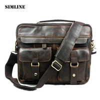 Vintage Casual Genuine Leather Cowhide Crazy Horse Leather Men Business Handbag Messenger Bag Shoulder Bag Bags