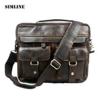 Vintage Casual Genuine Leather Cowhide Crazy Horse Leather Men Business Handbag Messenger Bag Shoulder Bag Bags