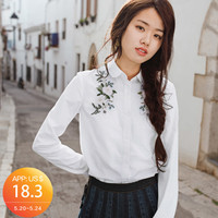 INMAN 2018 Spring Clothes Cotton Lapel Embroidered Shirt Women Women Long Sleeves Blouse